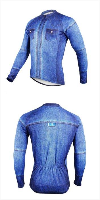 超推現貨M/L/XL/2L碼【Paladin】男款長袖車衣 :: 仿單寧襯衫