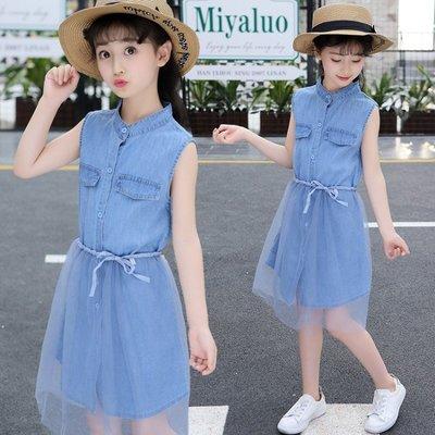 春季上新 2018韓版夏季新款女童洋氣裙子兒童淑女潮中大童牛仔公主背帶紗裙