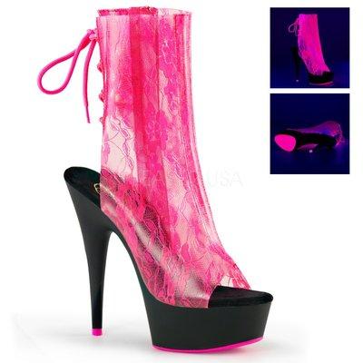 Shoes InStyle《六吋》美國品牌 PLEASER 原廠正品透明蕾絲霓虹螢光厚底高跟魚口短筒馬靴出清『黑紫紅色』
