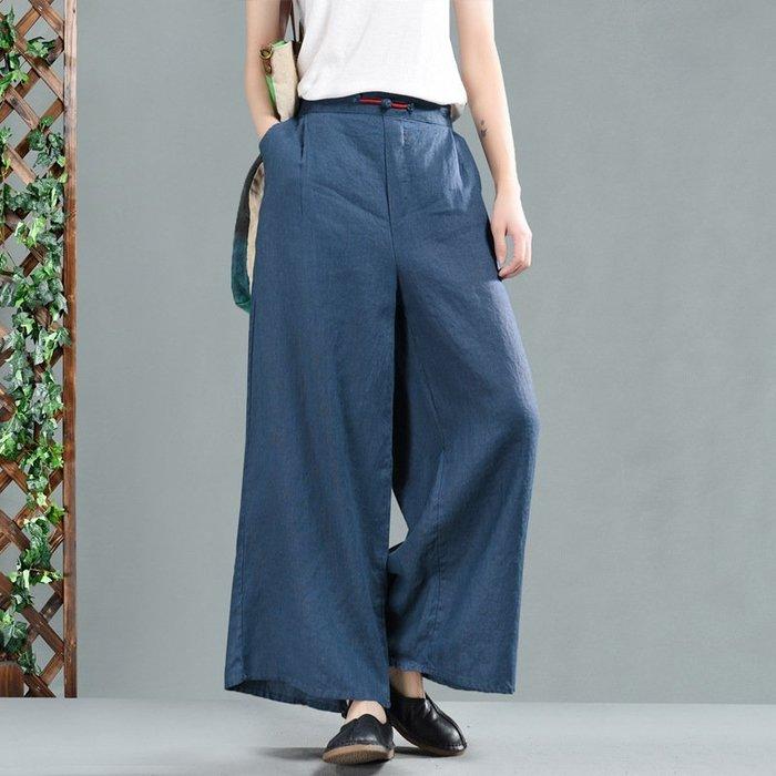 (老銀屋)春裝半鬆緊腰亞麻盤釦裝飾休閒直筒褲
