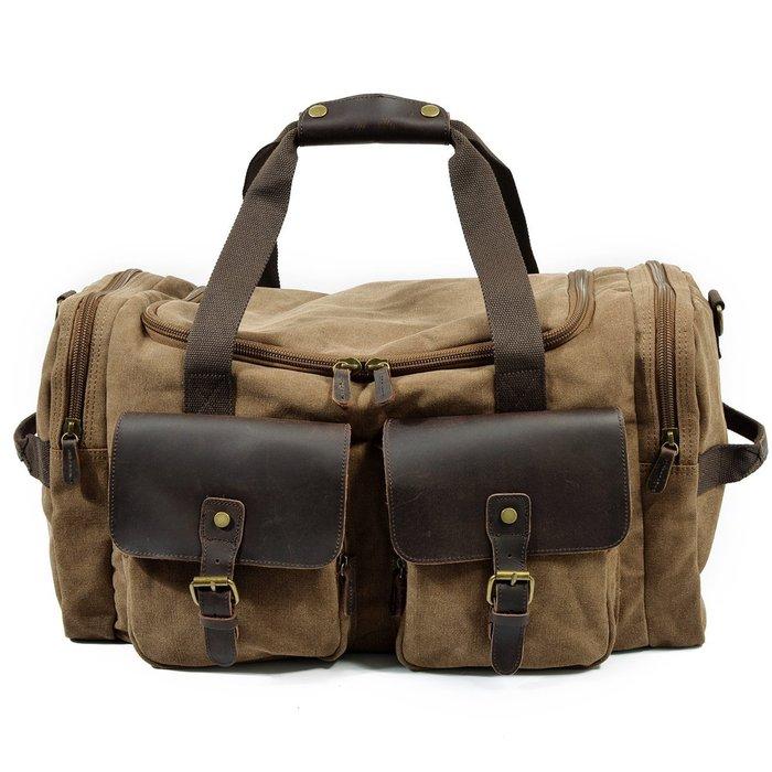 帆布 手提包 瘋馬皮 側背包-歐美時尚大容量行李男女包包3色73nd44[獨家進口][巴黎精品]