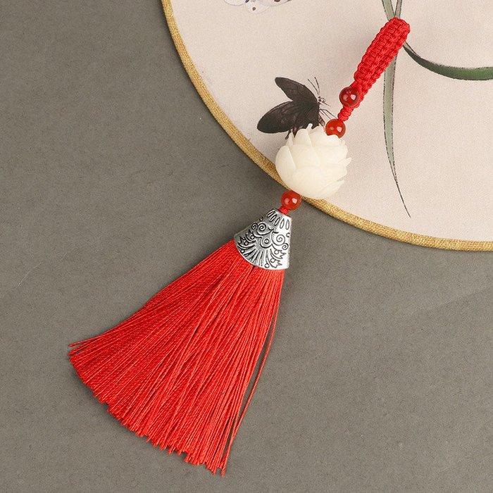 旦旦妙 白菩提根手工雕刻蓮花汽車鑰匙扣掛件包掛件帶流蘇時尚中國風禮品 刻字175