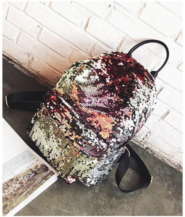 時尚彩色亮片雙肩包 後背包 旅行包-4色「金色現貨」Regina Shop【SH7051016】