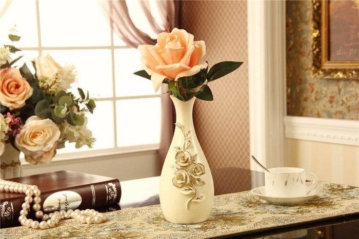 粉紅玫瑰精品屋~歐式餐桌復古米白色花瓶~