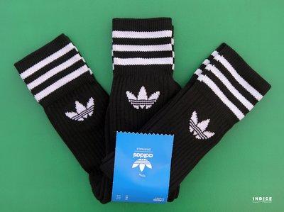 INDiCE ↗ADIDAS ORIGINALS SOLID CREW 經典三線中筒襪 長襪 S21490 三件式 黑