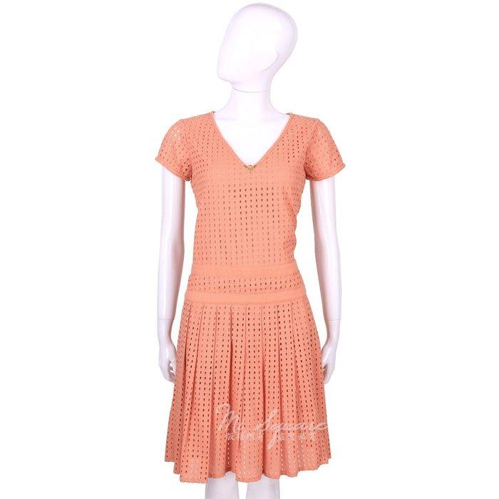 米蘭廣場 CLASS roberto cavalli 橘色洞洞抓褶設計短袖洋裝 1520543-39