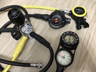 -桃園店-AQUALUNG CALYPSO 水精靈 調節器組 AQUA LUNG 二用錶 近全新 潛水調節器 1年保固