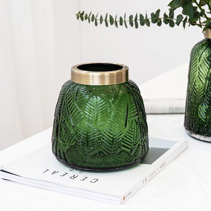 MAJPOINT*玻璃花瓶 花器 北歐金屬環 水培 插花園藝庭院 法式美器 輕奢華 攝影 復古大氣典雅造型 簡約家具布置
