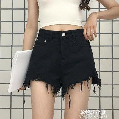 ZIHOPE 夏季女裝新款韓版時尚毛邊牛仔短褲高腰顯瘦寬管褲學生熱褲潮ZI812
