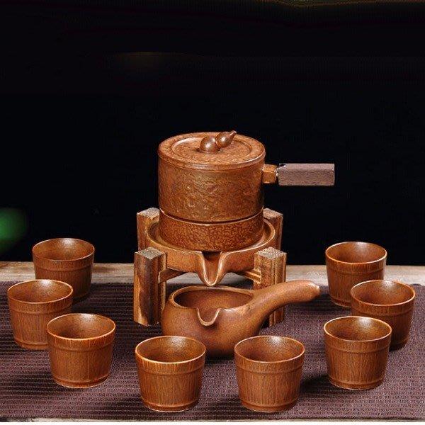 5Cgo【茗道】含稅會員有優惠37508914290 時來運轉石磨復古半自動茶具套裝懶人防燙功夫泡茶器葫蘆瓢側把壺茶色