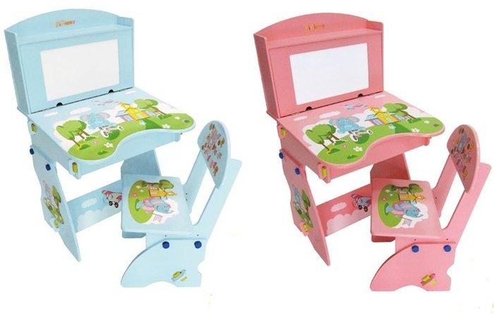 【kikimmy】歡樂象升降書桌椅組~木製兒童書桌椅組(粉/藍)◎童心玩具1館◎