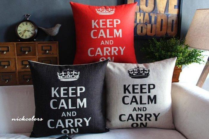 尼克卡樂斯~北歐英倫keep calm 靠枕 枕墊 靠墊 車用靠枕 輕工業 沙發抱枕 臥室抱枕 客廳抱枕 臥榻靠枕 枕頭