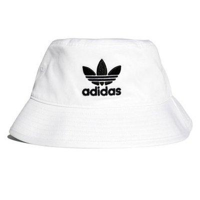 Adidas愛迪達經典款漁夫帽 三葉草帽子遮陽帽愛迪達刺繡白色漁夫帽 BK7350
