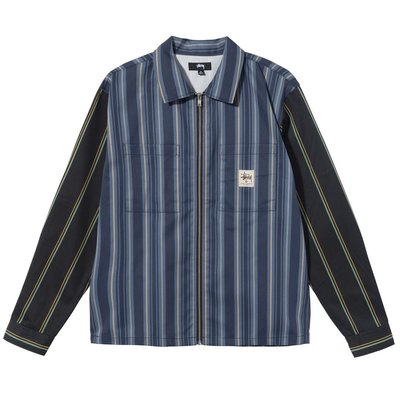 【莎莉伊森】代購 Stussy Mix Stripe Zip Up Work Jacket 外套