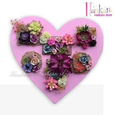 ☆[Hankaro]☆ 創意鄉村風格仿真植栽愛心造型彩繪木質背板牆壁掛飾