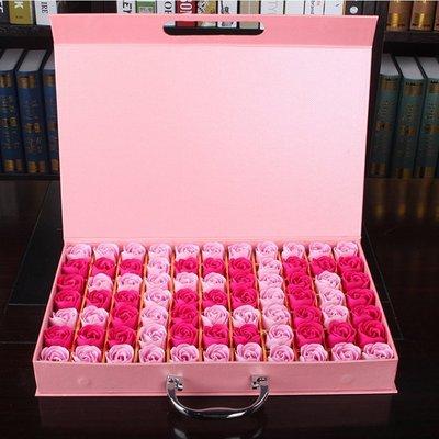 77朵香皂花束手提禮盒,不凋謝的玫瑰花-粉紅配色-520字樣