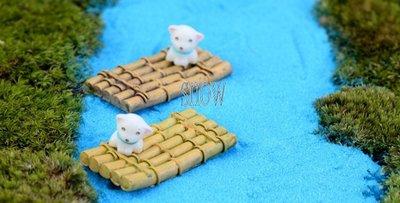 苔蘚微景觀擺件 原木竹排 竹筏 小船