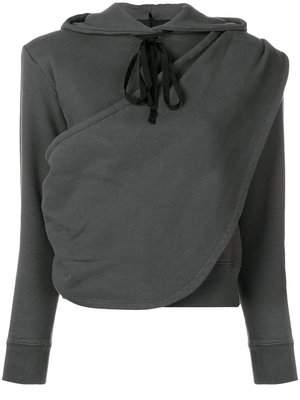 Unravel Project 灰色 棉質 垂褶 連帽 上衣