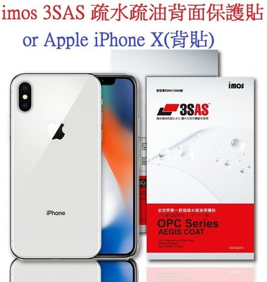 imos 3SAS 疏水疏油 背部保護貼 for Apple iPhone X 背面保護貼 背貼 雷射切割 無彩虹紋