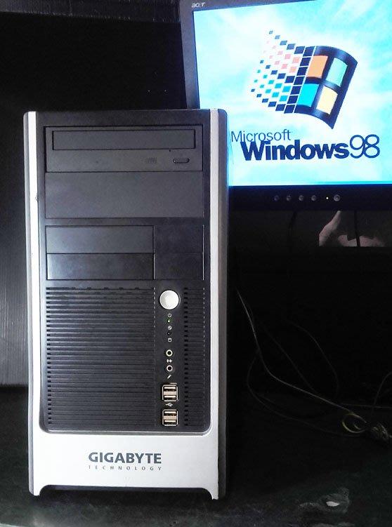 【窮人電腦】跑Win98系統!自組技嘉改裝工業主機出清!雙北桃園可親送!外縣可寄!