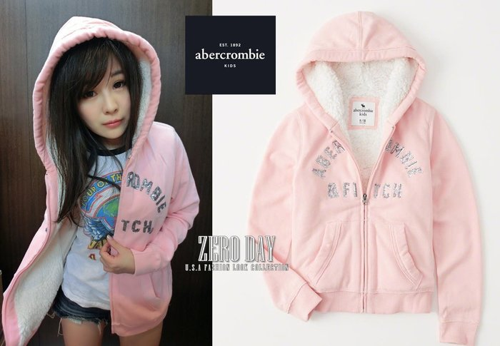 a&f abercrombie&fitch真品 sherpa-lined sequin logo hoodie雪帕毛外套