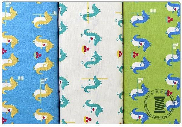 ✿小布物曲✿可愛鱷魚 純棉麻印花   100%純棉日本進口布料質感優 共3色 窄幅110CM 單價/尺