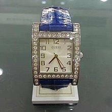 [永達利鐘錶] GUESS 方形銀殼鑽框簡約白面 藍色皮帶錶 GWW0129L3 總公司12個月保固 30mm