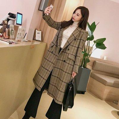 格子毛呢外套女2018冬季新款韓版流行過膝修身中長款雙排扣大衣潮