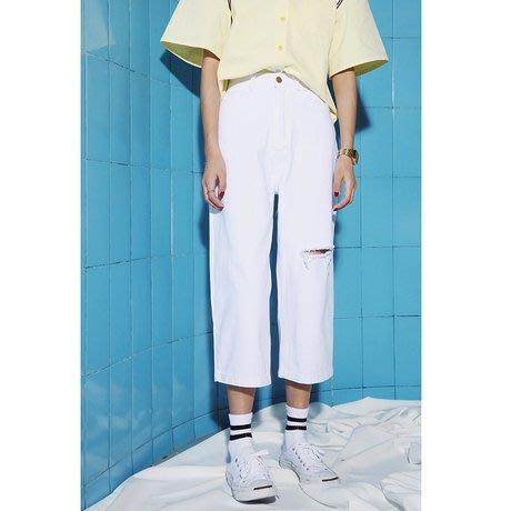 SeyeS fruits街頭個性簡約自然風白色破壞牛仔寬褲