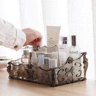 梳妝檯透明化妝品收納盒 桌麵塑料多格整理盒護膚品置物架