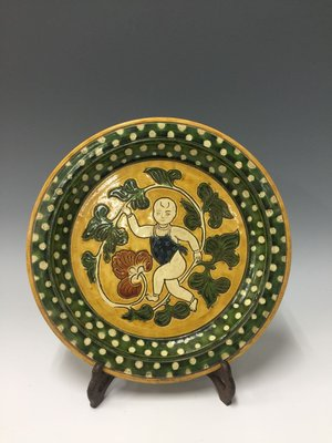 〈長輩的私藏古瓷〉老件三彩嬰圖盤