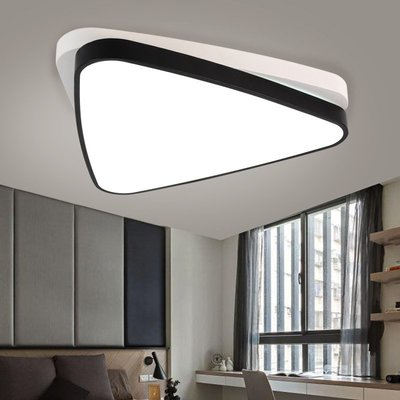 LED吸頂燈創意三角重疊房間燈黑白無極調光臥室客廳燈具