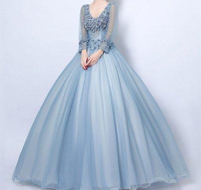 天使嫁衣性感深v領藍色花朵晚宴年會新娘婚禮婚紗禮服敬酒服5052