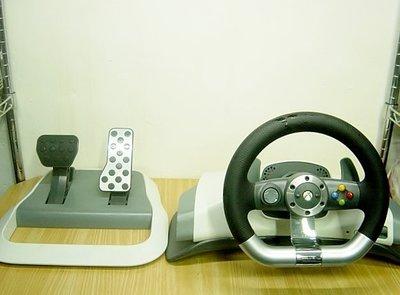 Y【小劉2手家電】XBOX360無線賽車方向盤+刹車組,WRW02型