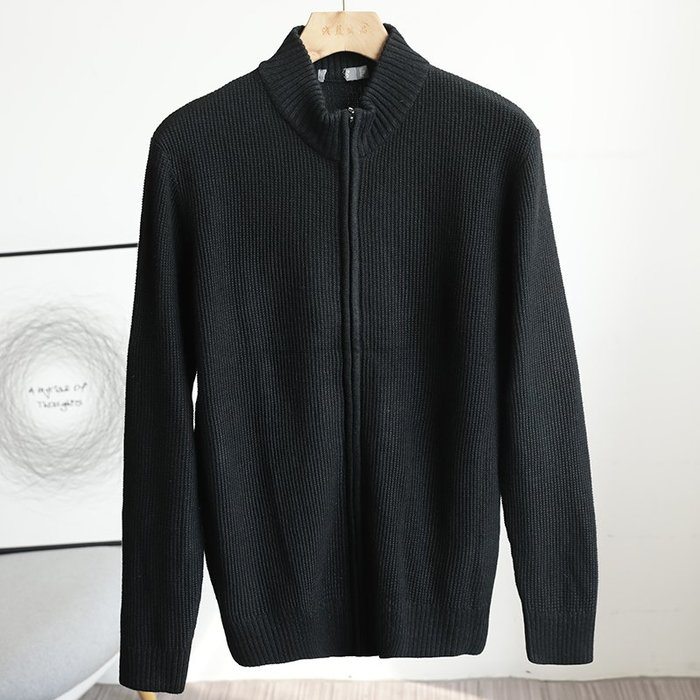 ☆MR.STORE.A☆日單復古簡約修身針織立領毛衣外套(黑色)~預購+現貨