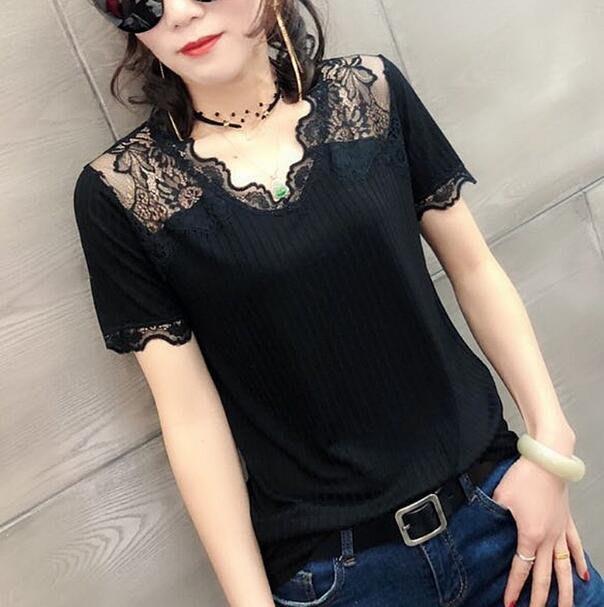 韓版新款短袖上衣 露肩性感蕾絲拼接美背洋氣打底衫 蕾絲上衣—莎芭