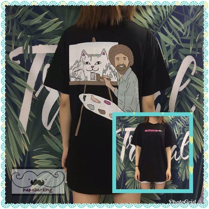 PapaDarling 19SS 正品ripndip潮牌中指猫油畫圖案寬鬆男女短袖上衣 T恤