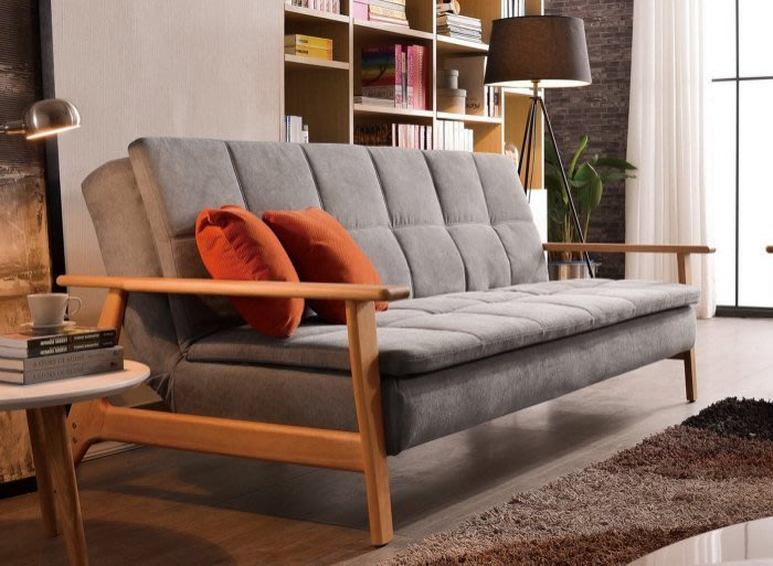 【DH】商品貨號G721-1商品名稱《斯克雷》沙發床。座/臥兩用多功能。布套可拆洗。附抱枕兩個。實木骨架。主要地區免運費