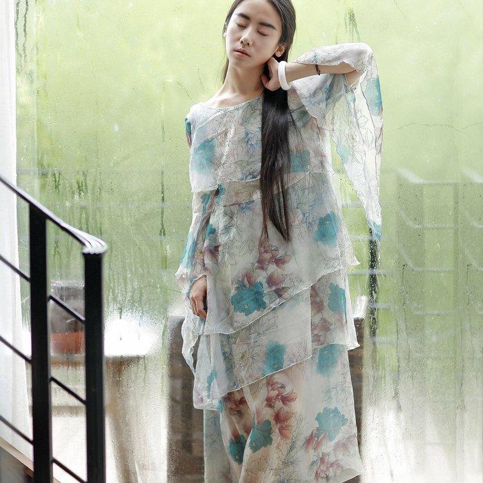 *菇涼家*新款猫迷森女荷葉邊中國風印花宽松腰天絲长裙