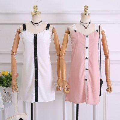 2018新款夏季韓版新款時尚百搭撞色V領小心機吊帶連衣裙短裙女