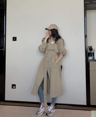 小C韓國女裝20秋高定重*磅中長款風衣女經典翻領廓形休閒收腰卡其色大衣外套