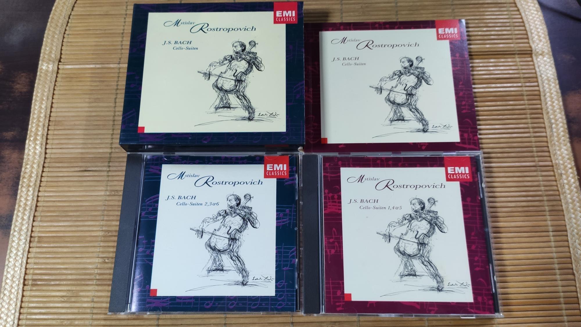 好音悅 Rostropovich 羅斯托波維奇 BACH 巴赫 巴哈 無伴奏 大提琴組曲 EMI 2CD USA美版