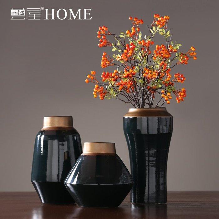 〖洋碼頭〗美式簡約輕奢陶瓷花瓶擺件 家居裝飾品玄關插幹花花器樣板間軟裝 ywj633