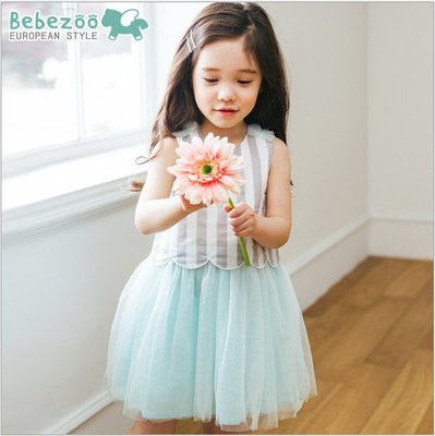 ✽Summer 夏✽韓國Bebezoo女童條紋拼接紗裙洋裝/背心裙/連身裙