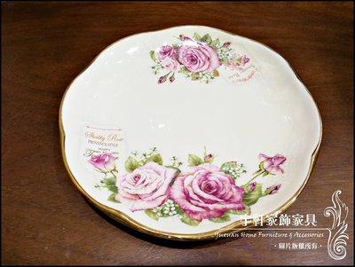 【現貨】韓國原裝進口shabby rose皇室玫瑰圓餐盤 3入組 金邊彩瓷 歐風 韓國製 高檔餐具 。花蓮宇軒家飾家具。