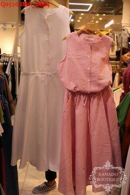 ♥現貨快速出貨區♥ 清新氣質無袖雙口袋綁帶洋裝(白色現貨ㄧ)。瑪黑 小首爾 正韓