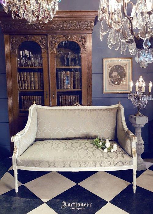 【拍賣師古董市集】歐洲古董1950年代法國路易十六雙人沙發