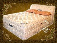 ※高雄~專業睡眠館※(尊爵頂級床組)4線乳膠雙層高獨立筒+飯店彈簧下墊+提花床頭 雙人5尺全組 5折批發價21000