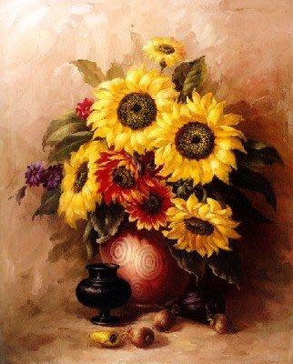 三幅一組油畫布 向日葵花卉 畫芯/畫布/30X40☺暖暖屋☺傢居藝術館