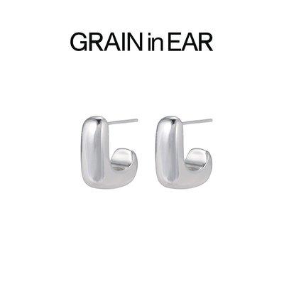 SC STORE~GRAIN in EAR 極簡高級感 中性風幾何半方塊耳環 男女情侶耳環